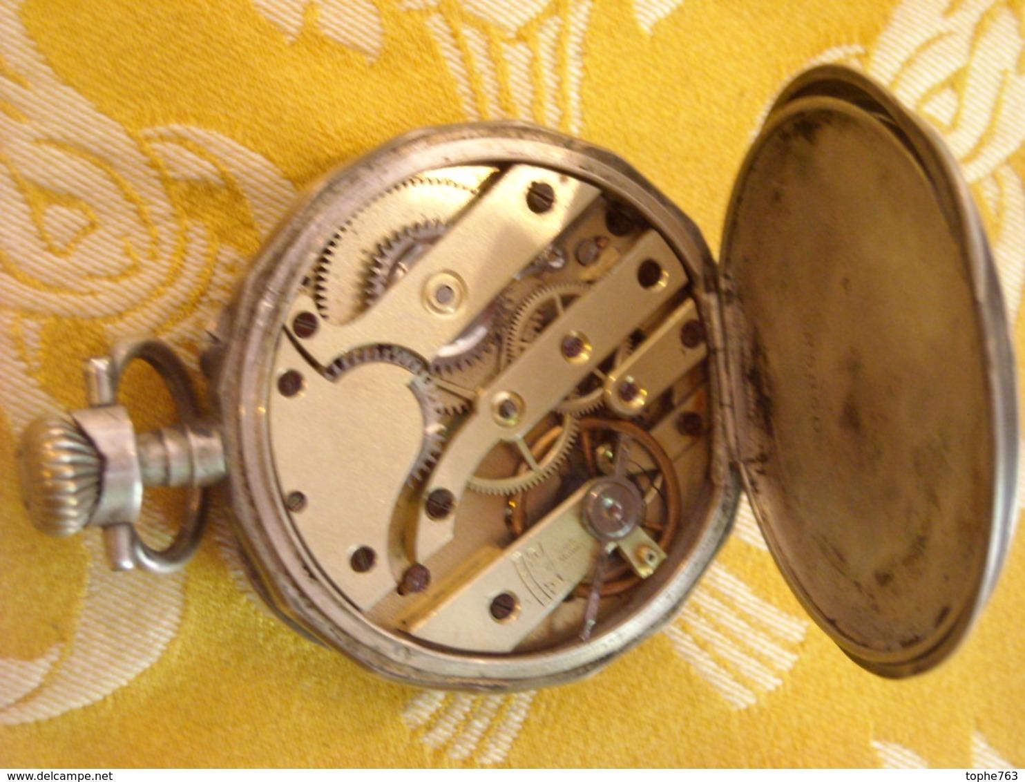 Montre De Gousset XIXe , Argent Massif , Mouvement à Revoir , Joli Décor - Watches: Bracket