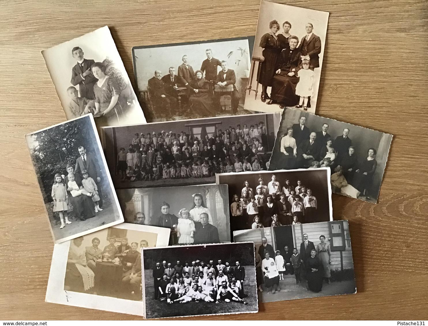 GROOT LOT OUDE FOTO'S - Zie 13 Scans ! - 142 FOTO'S - KINDEREN - FAMILIES - HUWELIJK - COMMUNIE - MILITAIREN Enz - Personnes Anonymes