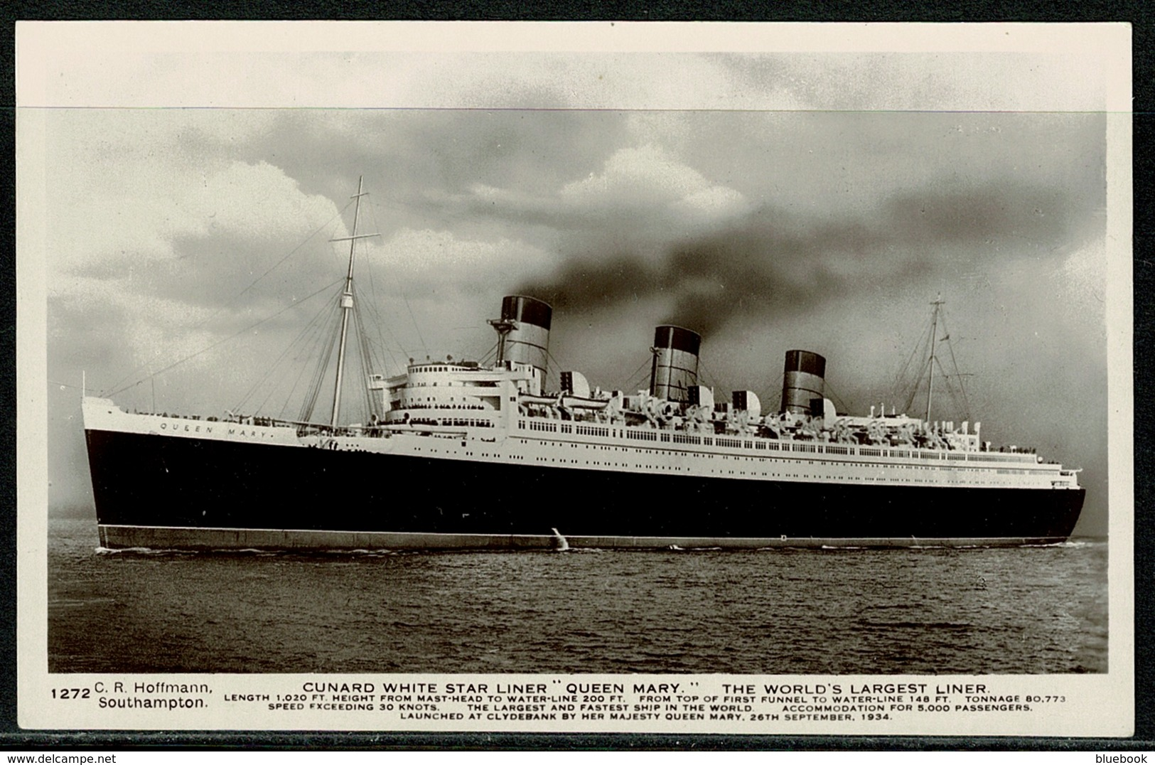Ref 1298 - Real Photo Postcard - Cunard White Star Liner Queen Mary - Ship Maritime - Paquebote
