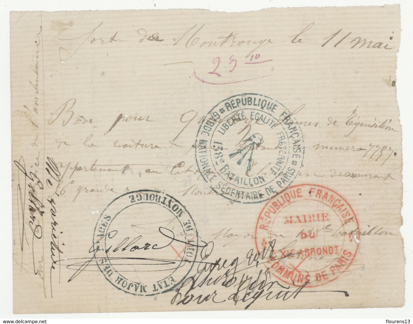 COMMUNE DE PARIS FORT DE MONTROUGE CACHET ROND ETAT MAJOR DES PLACES (ÉVIDÉ DANS SON CENTRE, L'AIGLE IMPÉRIAL GRATÉ) - 1849-1876: Classic Period