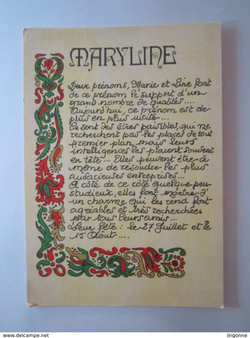 "Carte Postale Prénom "" Maryline "" - Prénoms"