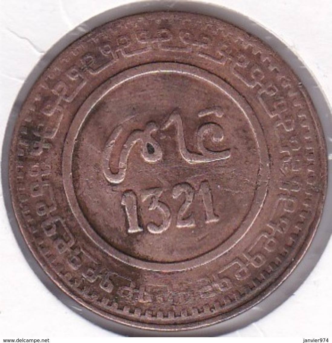 Maroc. 10 Mazunas (Mouzounas) HA 1321 (1903) FEZ. 2e Type. Abdul Aziz I - Maroc