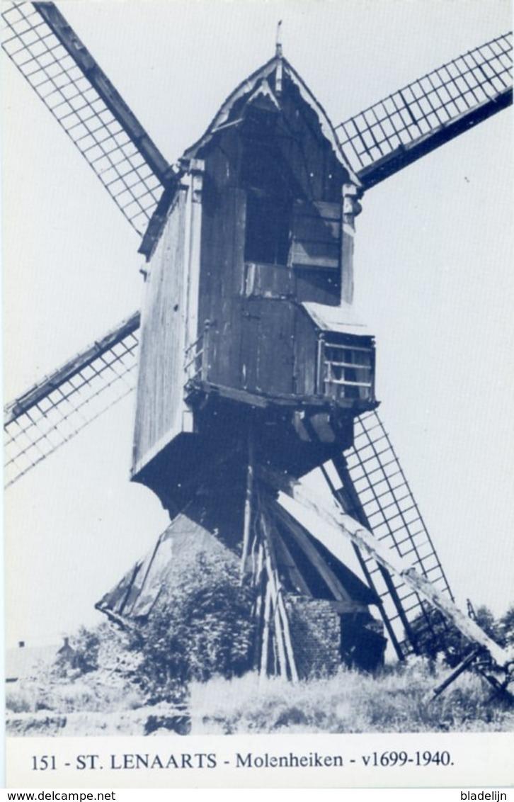 SINT-LENAARTS - Brecht (Antw.) - Molen/moulin - Blauwe Prentkaart Ons Molenheem: De Molen Van 't Molenheiken (close-up) - Brecht