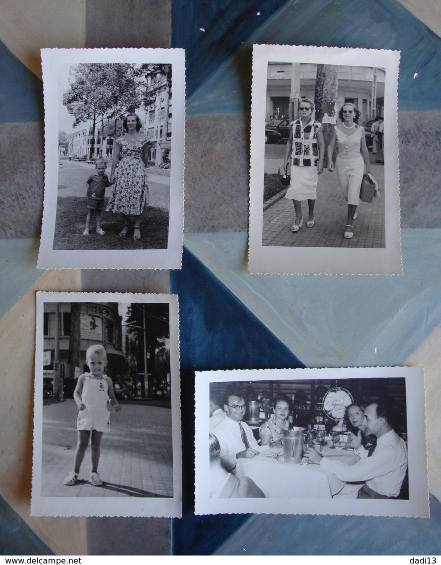 Saïgon Années 1950 - 4 Photos D'une Même Famille (restaurant, Enfant, Femmes Dans Rue De La Ville) - Lieux