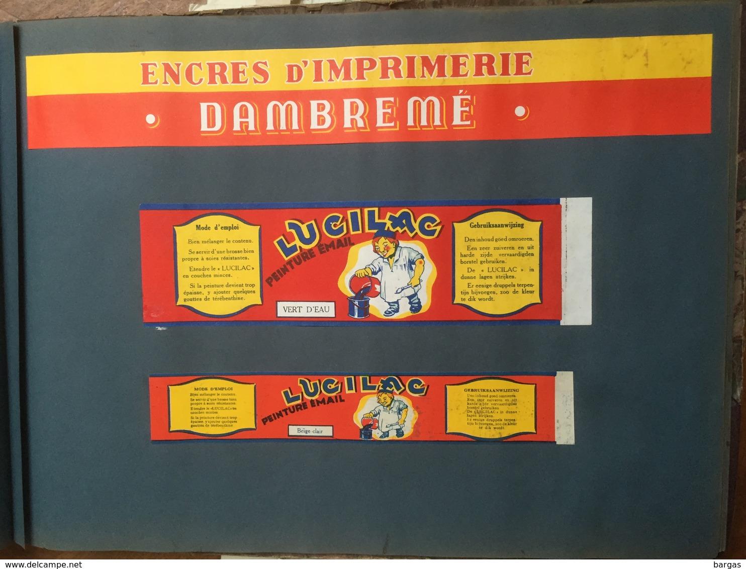 Curiosa Insolite Gros Album D'étiquettes De Pot Pour Peinture Cire Droguerie - Publicité
