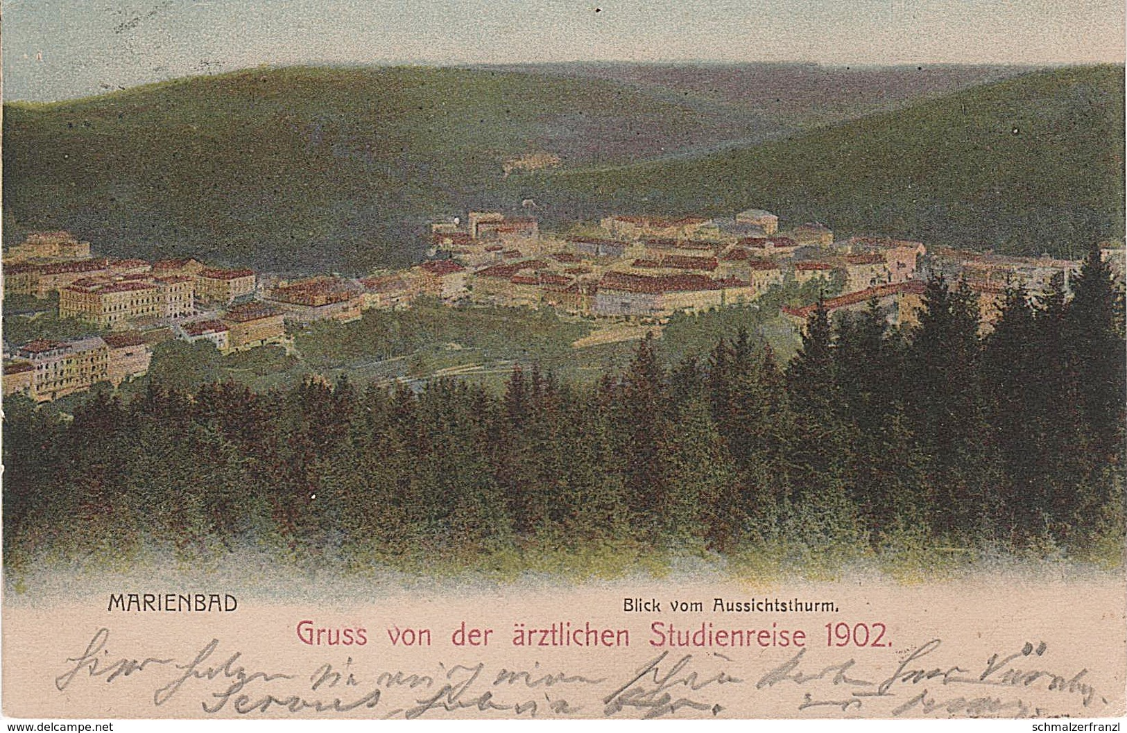 AK Marienbad Marianske Lazne Blick Aussichtsturm Gruß Von Der ärztlichen Studienreise 1902 A Wilkowitz Hohendorf Neudorf - Sudeten