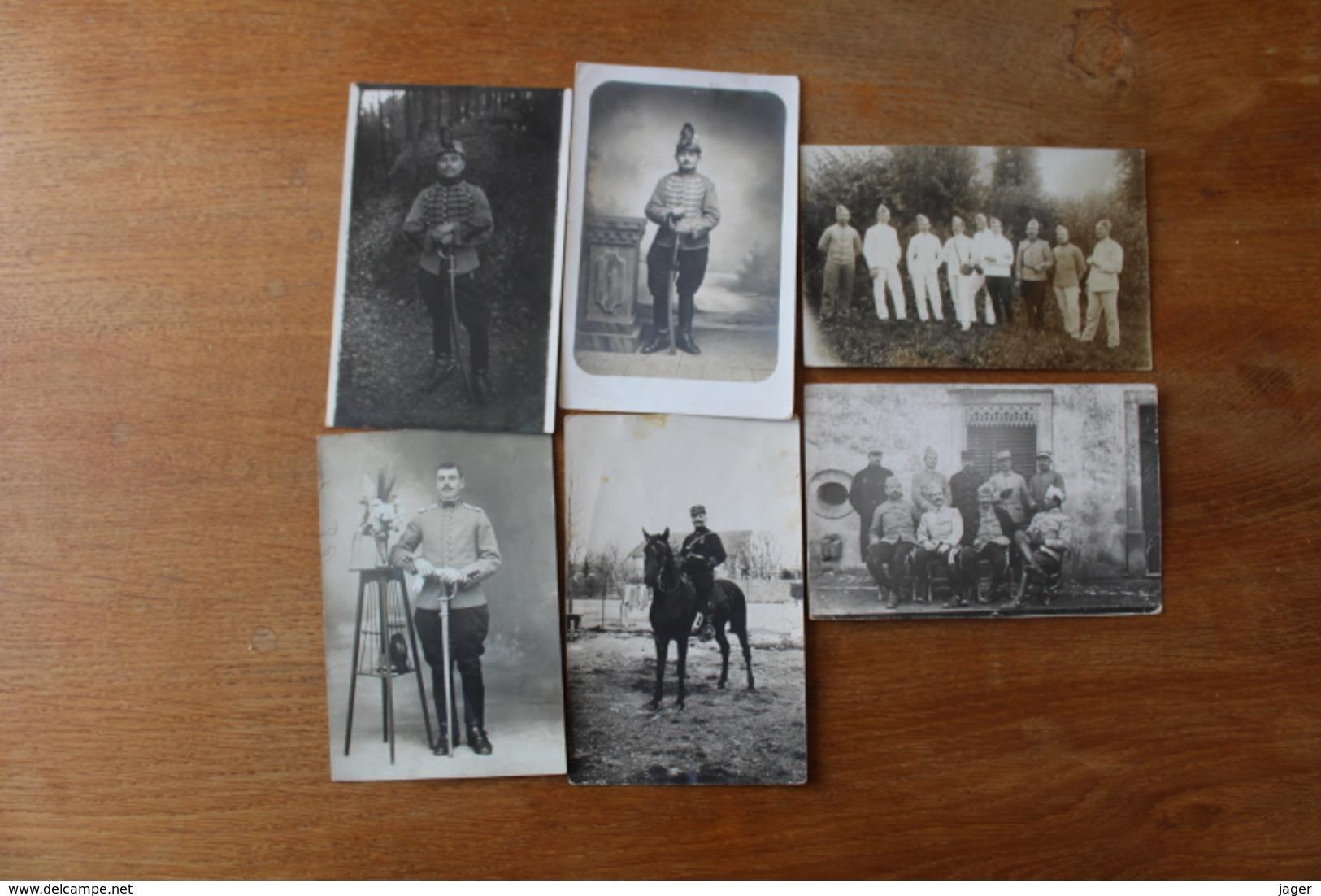 6 Cartes Photos Cavalerie Hussard, Chasseur à Cheval - Guerra, Militares