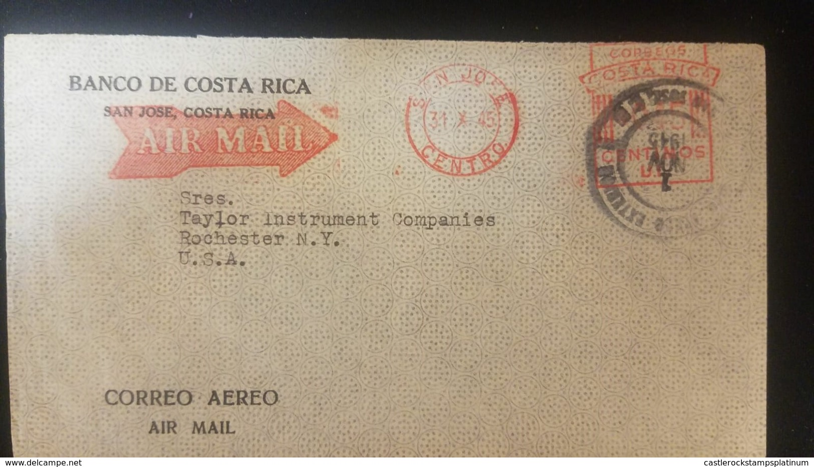O) 1945 COSTA RICA, METER STAMP, AIRMAIL. FROM BANCO DE COSTA RICA, TO USA - Costa Rica