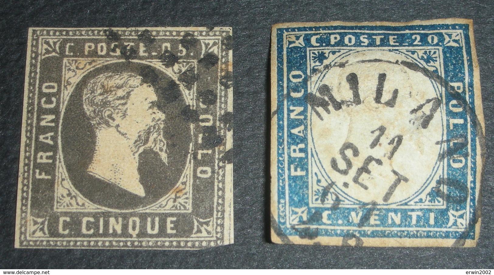 Sardaigne N°1 Et 12 Oblitérés 1851 Et 1855 - Sardegna