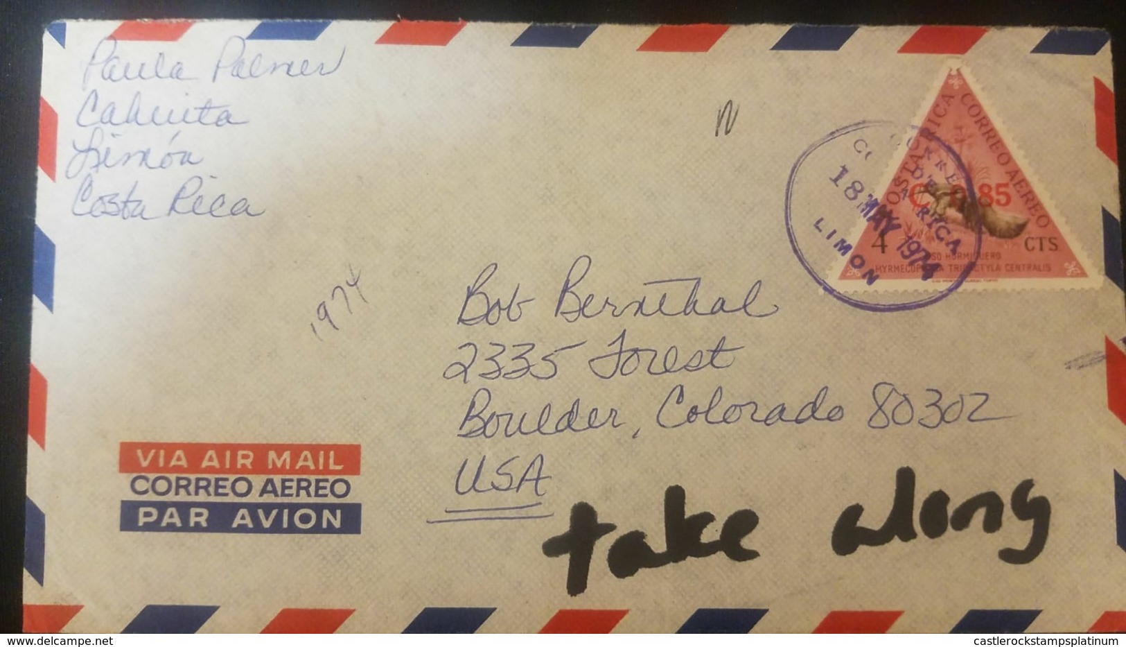 O) 1974 COSTA RICA, MIRMECOPHAGA TRIDACTYLA - GREAT ANTEATER SCT C370 -TRIANGLE, TAKE ALONG -AIRMAIL FROM LIMON -COSTA R - Costa Rica