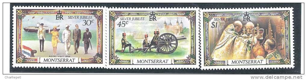 Montserrat QEII Silver Jubilee Scott # 363-65 MNH Military Cannon - Montserrat