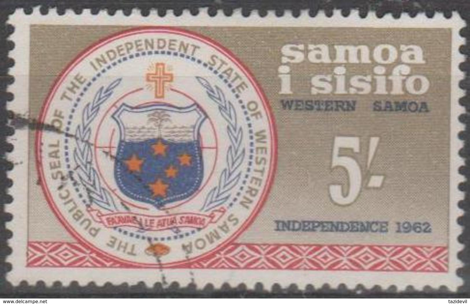 SAMOA-USED 1962 5/- Coat Of Arms - Samoa