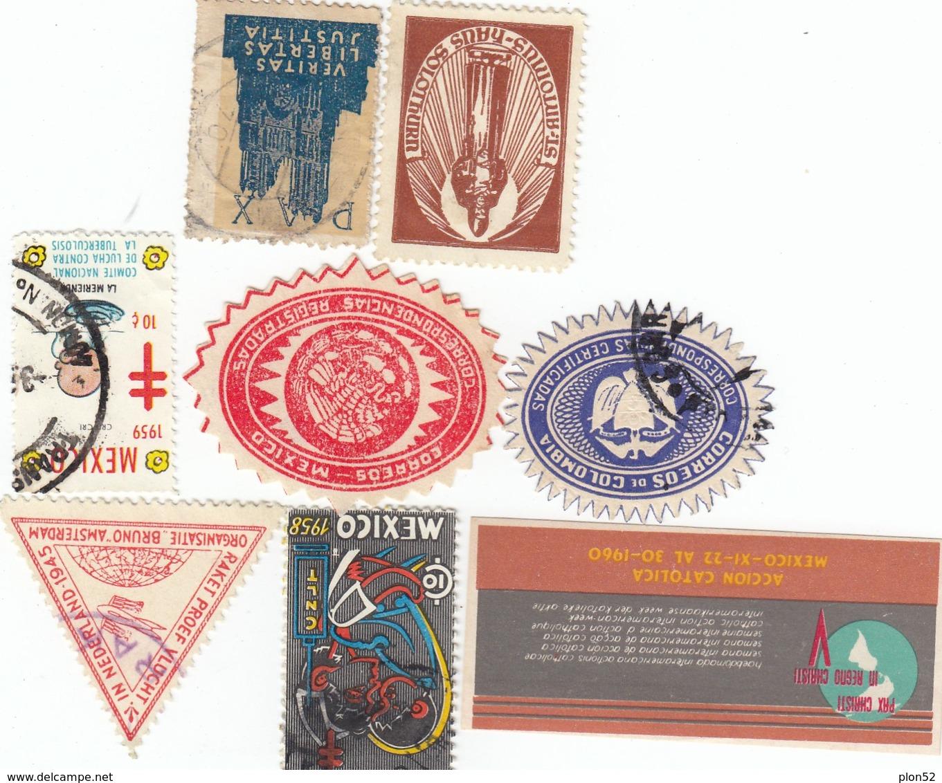 12440-N°. 8 CHIUDILETTERA MESSICO-COLOMBIA-VARI-NUOVI-USATI - Erinnofilia