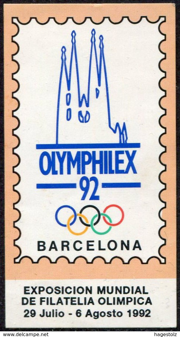España Spain 1992 Barcelona OLYMPHILEX-92 Olympic Philatelic Exhibition Exposition Vignette Poster Stamp Reklamemarke - Esposizioni Filateliche