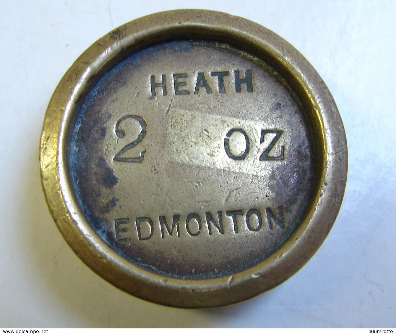 Monnaie. 61. Mesure, Poids En Laiton De 2 OZ. Heath Edmonton. Poinçon Au Verso. - Coppers