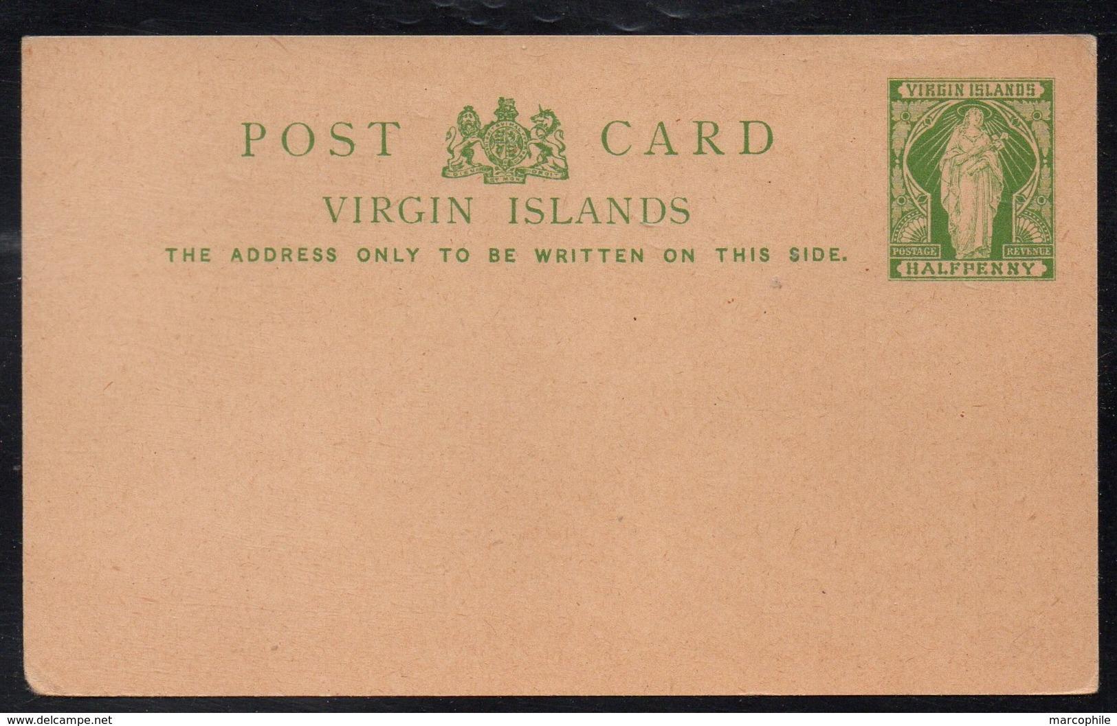 ILES VIERGES BRITANNIQUES - VIRGIN ISLANDS / ENTIER POSTAL 1/2 P. VERT (ref 1300) - Iles Vièrges Britanniques
