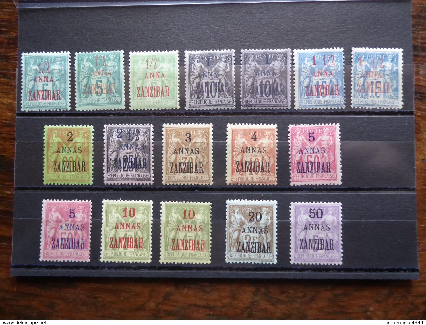 France  Zanzibar Entre Les N° 17 Et 31  Neufs Avec Charnière  Cote 607 € Voir Scans - Zanzibar (1894-1904)