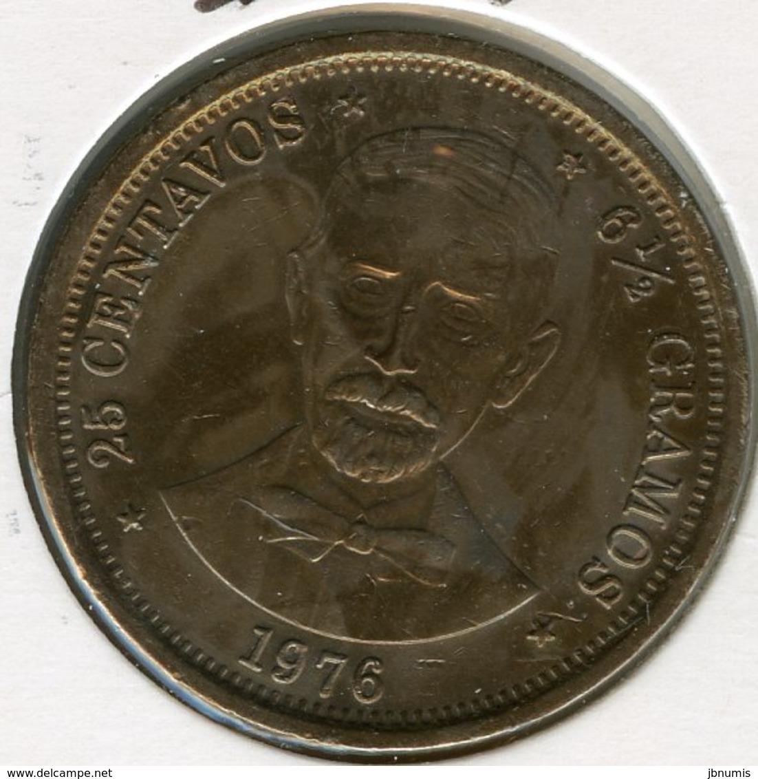 République Dominicaine Dominican Republic 25 Centavos 1976 Centenaire De La Mort De Duarte KM 43 - Dominicaine