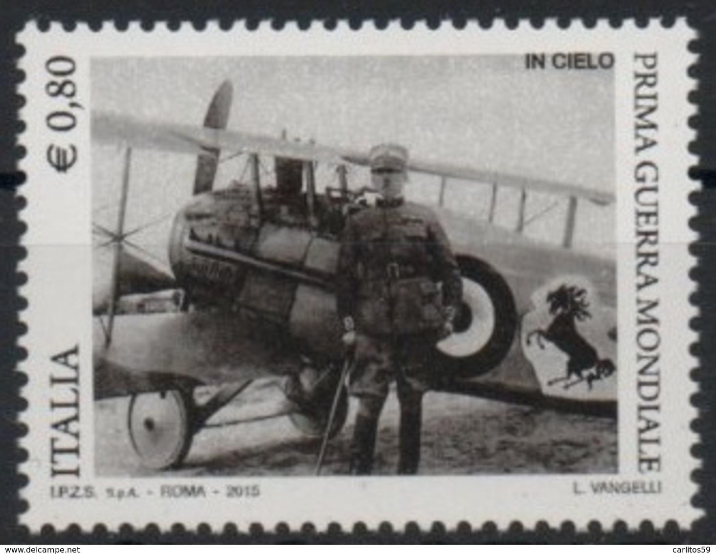 """Italia - Repubblica 2015 """"Centenario Della Prima Guerra Mondiale, Francesco Baracca €. 0,80, Nuovo - 2011-...: Mint/hinged"""