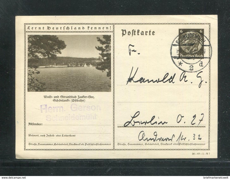 Deutsches Reich / 1936 / Bildpostkarte > SCHOENLANKE (Ostbahn), Steg-Stempel Schneidemuehl (17287) - Ganzsachen