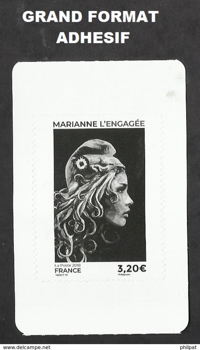 MARIANNE DE L'ENGAGEE  GRAND FORMAT ADHESIF NOIR 3.20 € - 2018-... Marianne L'Engagée