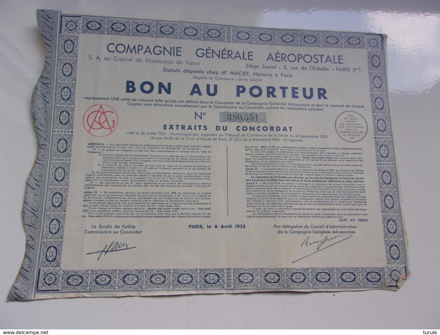 COMPAGNIE GENERALE AEROPOSTALE (bon Au Porteur) 1935 - Shareholdings