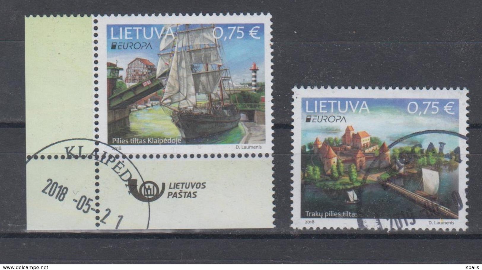 Lithuania 2018 Mi 1275-6 Used Europa,bridges - Litouwen