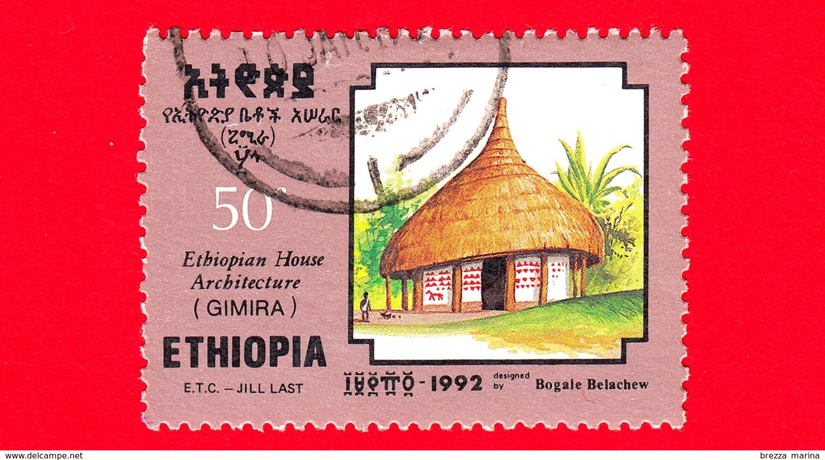 ETIOPIA - Usato - 1992 - Case Tradizionali - Architettura - Ethopian House Architecture - Gimira - 50 - Etiopia