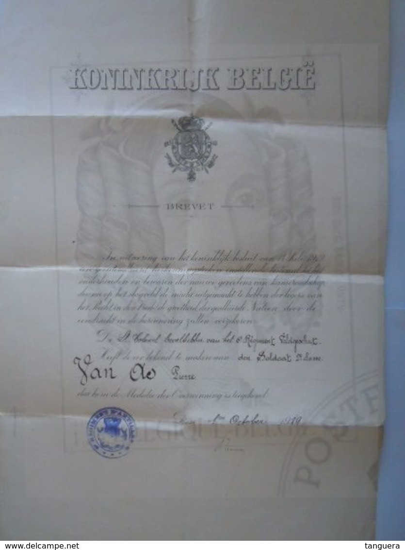 Belgique Brevet 1919 Medalie Der Overwinning 1914-1918 - Documents