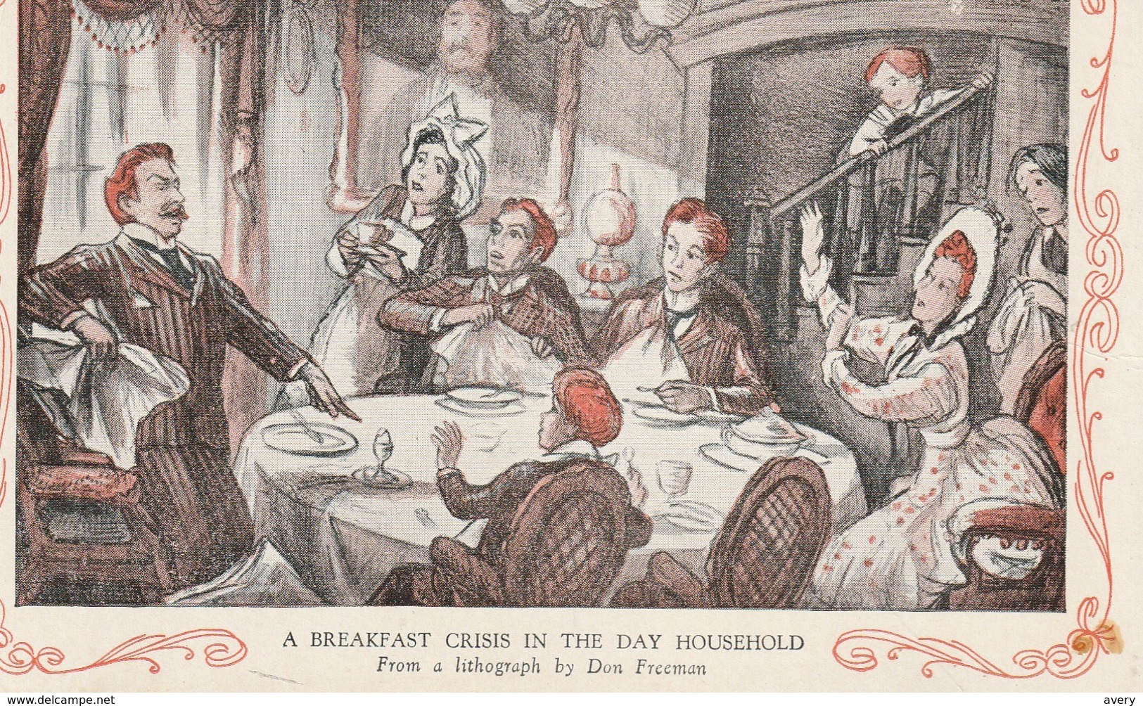 A Breakfast Crisis In The Day Household  From A Lithograph By Don Freeman - Humour