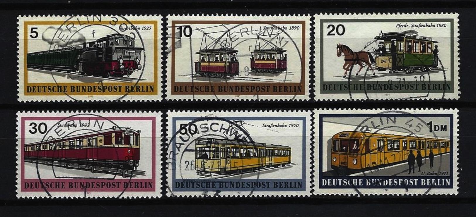 BERLIN - Komplettsatz Mi-Nr. 379 - 384 Berliner Verkehrsmittel Schienenfahrzeuge Gestempelt (4) - Gebraucht