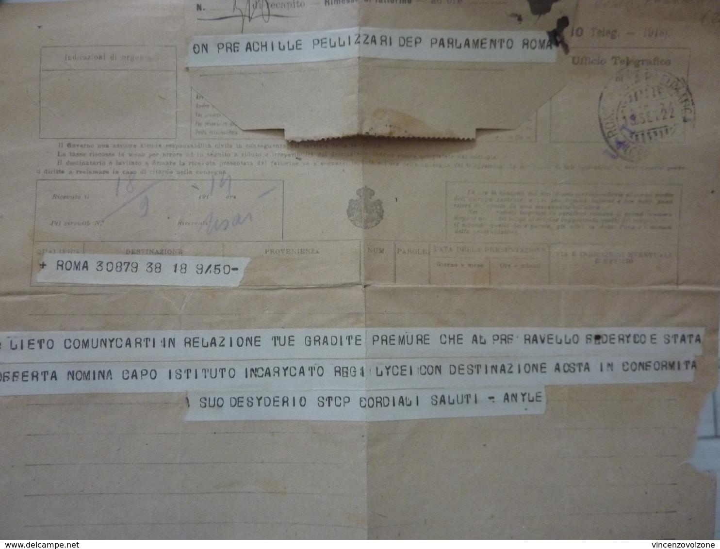 """Telegramma """"On. Achille Pellizzari Deputato Parlamento - Roma"""" 1922 - Storia Postale"""