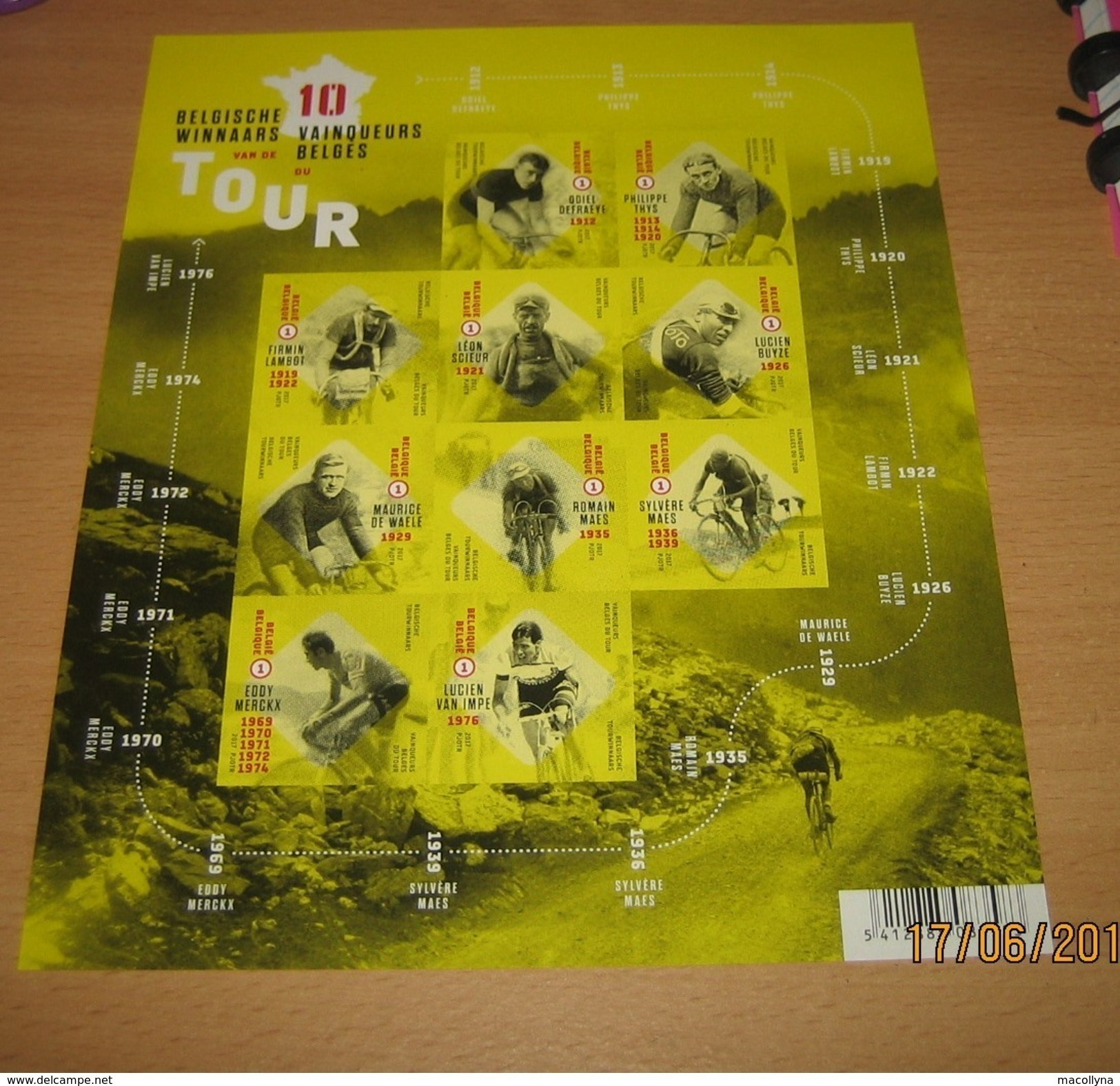 De 10 Belgische Tourwinnaars - Belg. 2017 - Les Dix Vainqueurs Belges Du Tour De France** Imperforated Sheet-Ongetand-ND - Belgium