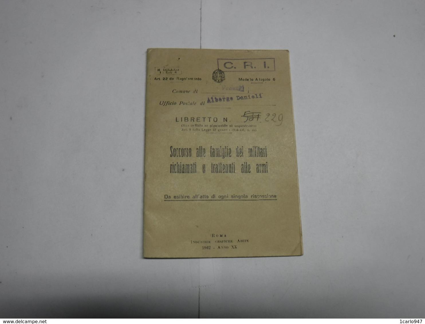 VENEZIA  -- ALBERGO DANIELI  --- SOCCORSO ALLE FAMIGLIE DEI MILITARI RICHIAMATI O TRATTENUTI ALLE ARMI - Italia