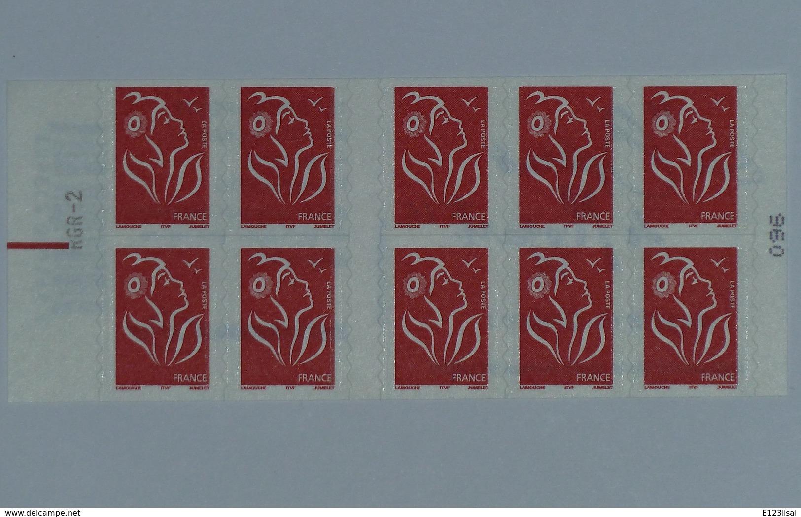 3744c-11 Avec Repère électronique  Carnet 10 Timbres Marianne De LAMOUCHE - Uso Corrente