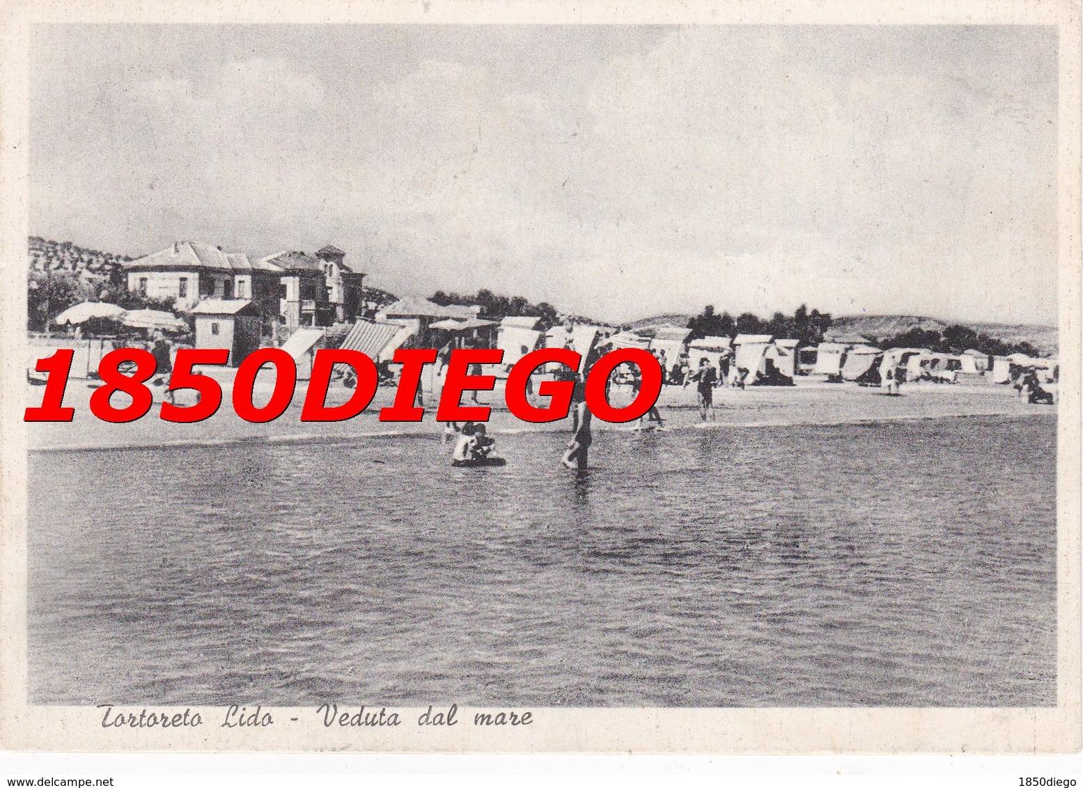 TORTORETO LIDO - VEDUTA DAL MARE F/GRANDE VIAGGIATA 1955  ANIMATA - Teramo