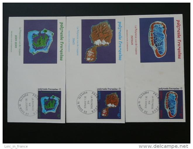 Space Satellite Views Islands Lagoon X3 FDC Polynesia 49790 - FDC & Commemoratives
