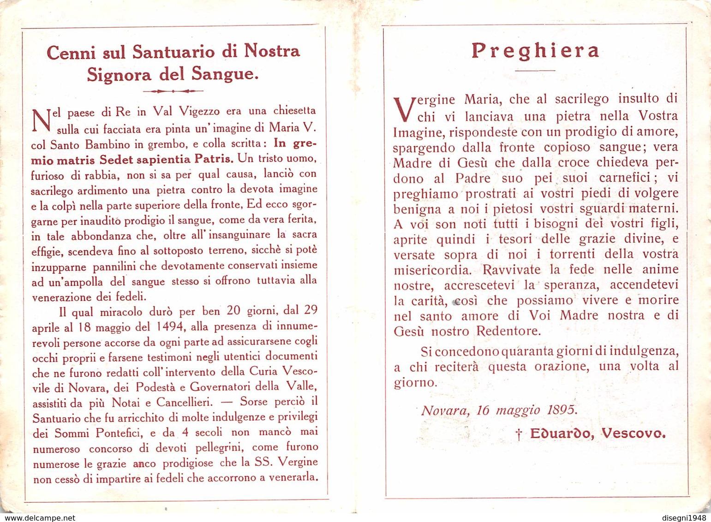 """08199 """"IMAGINE DI MARIA SS. DEL SANGUE VENERATA IN RE - VALLE VIGEZZO - OSSOLA (VB)"""" IMM. RELIG. ORIG. - Santini"""