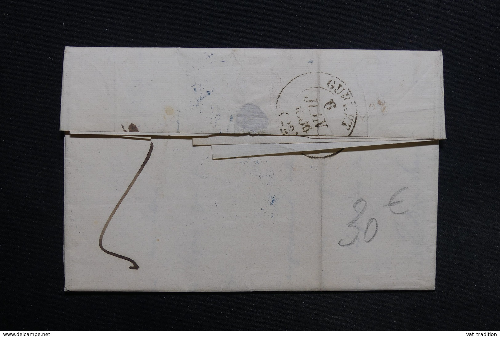 FRANCE - Lettre De Paris En PP Pour Gueret En 1836 , Cachets En Bleu - L 31714 - Marcophilie (Lettres)