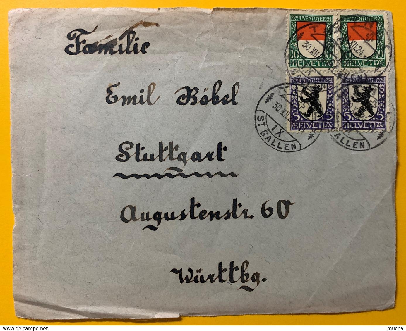 8678 - Nos 29 & 30 En Paires Sur Devant De Lettre Pour  L'Allemagne 1924 - Pro Juventute