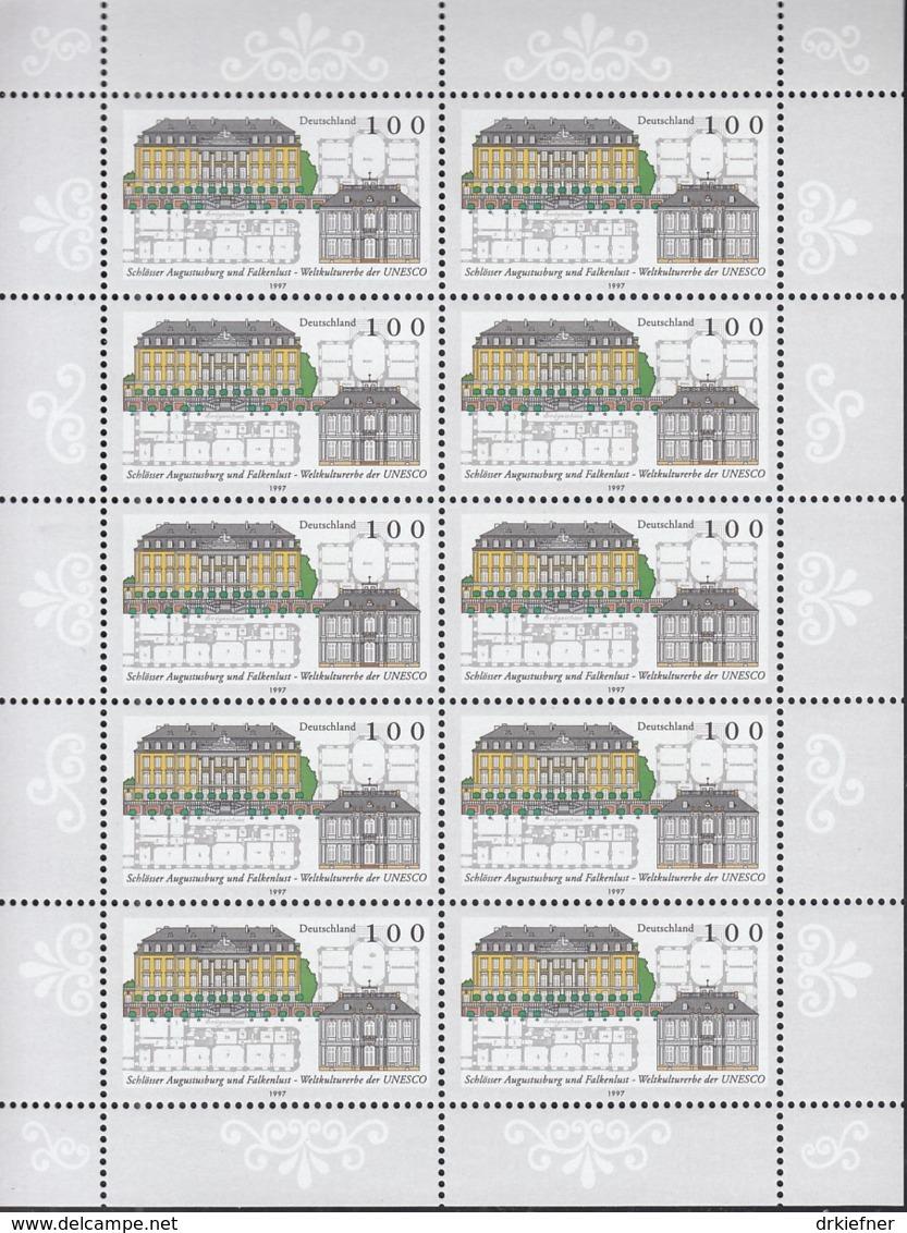 BRD  1913, Kleinbogen, Postfrisch **, UNESCO-Welterbe: Schloss Augustusburg Brühl 1997 - Bloques