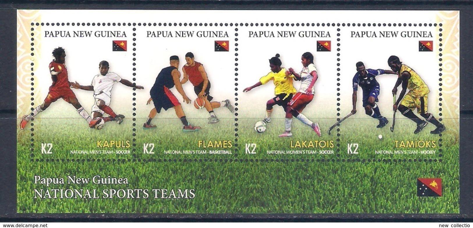Papua New Guinea (2019) Teams Sports (Football/Soccer, Basketball, Hockey) - Sheetlet [MNH] - Timbres