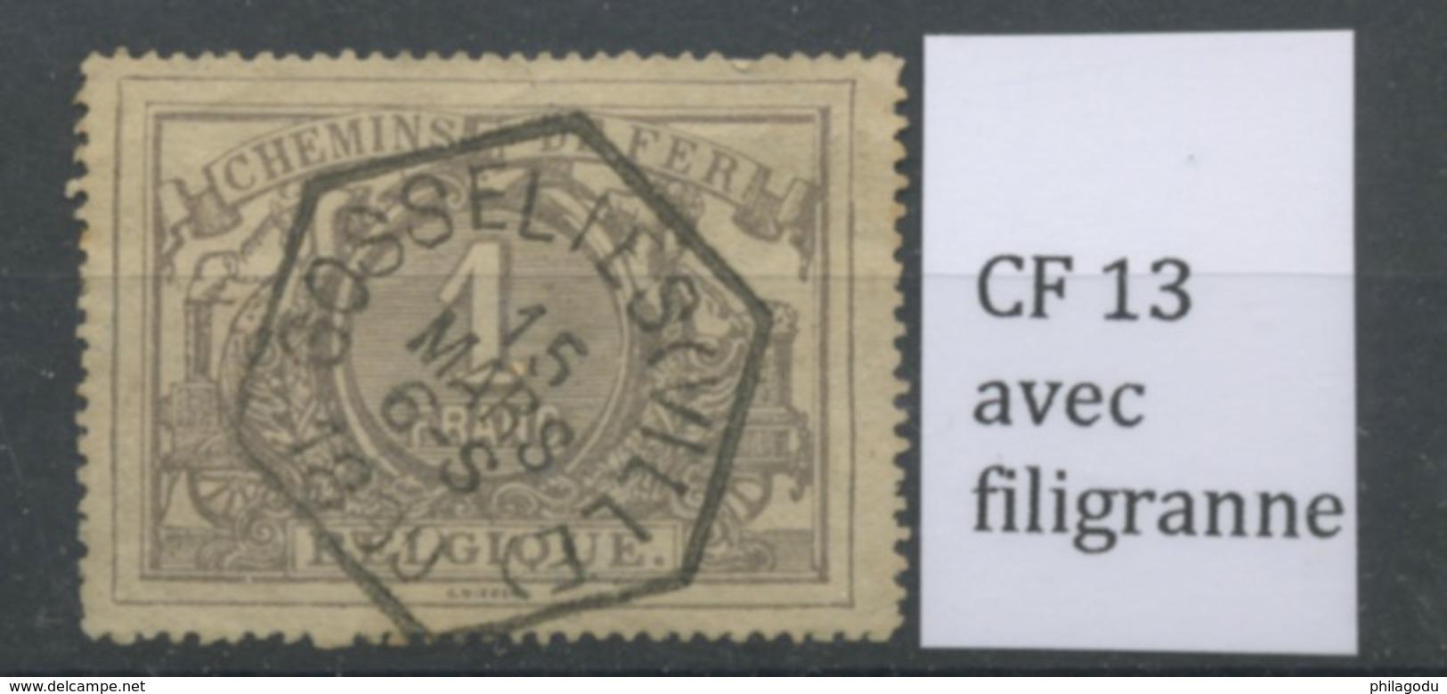 1 F Avec Filigranne  Ø  1899  GOSSELIES  VILLE  Hexagonale - Ferrocarril