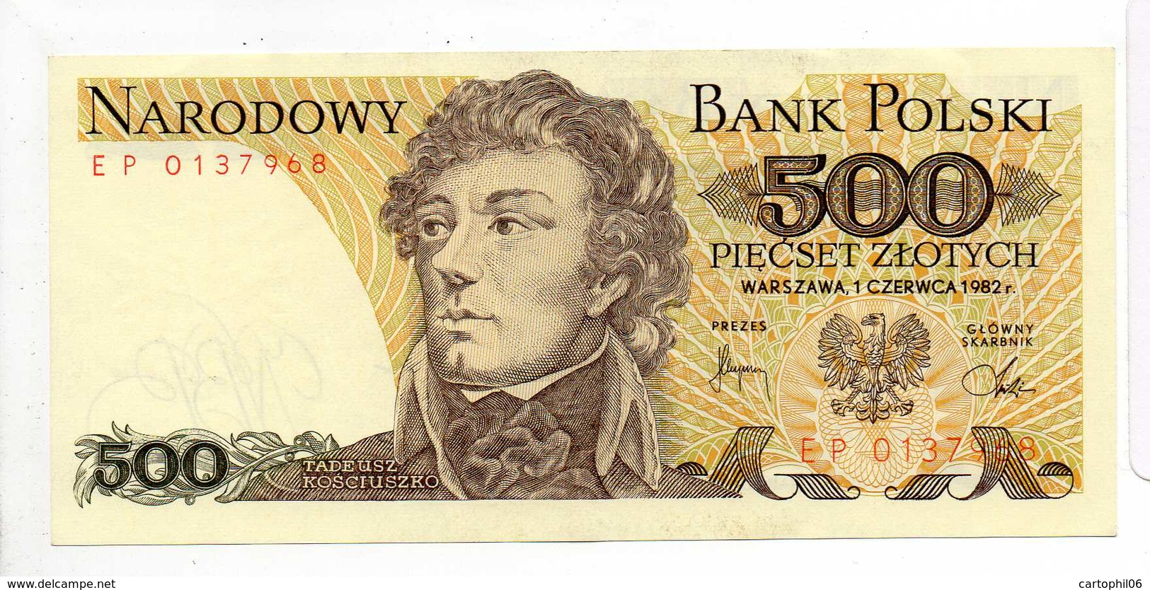 - Billet 500 Zlotych 1982 - NARODOWY BANK POLSKI - - Polonia