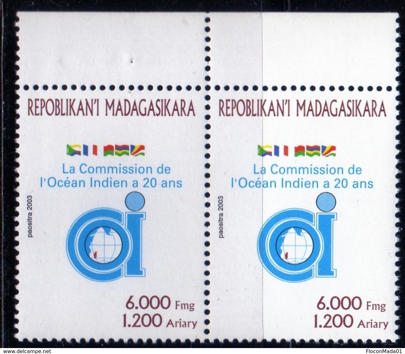 Madagascar 2003 Commission Océan Indien 20 Ans   N° 1853        Neuf  MNH  TB  Paire - Madagascar (1960-...)