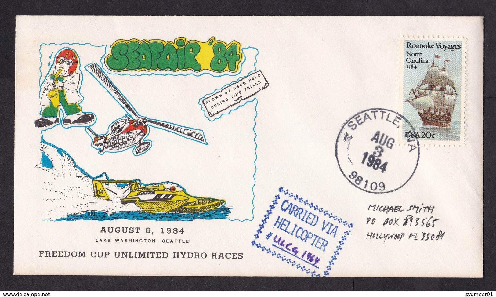 USA: Commemorative Cover 1984, 1 Stamp, Seafair, Cancel Carried By Helicopter USCG, USS Puget Sound (minor Discolouring) - United States