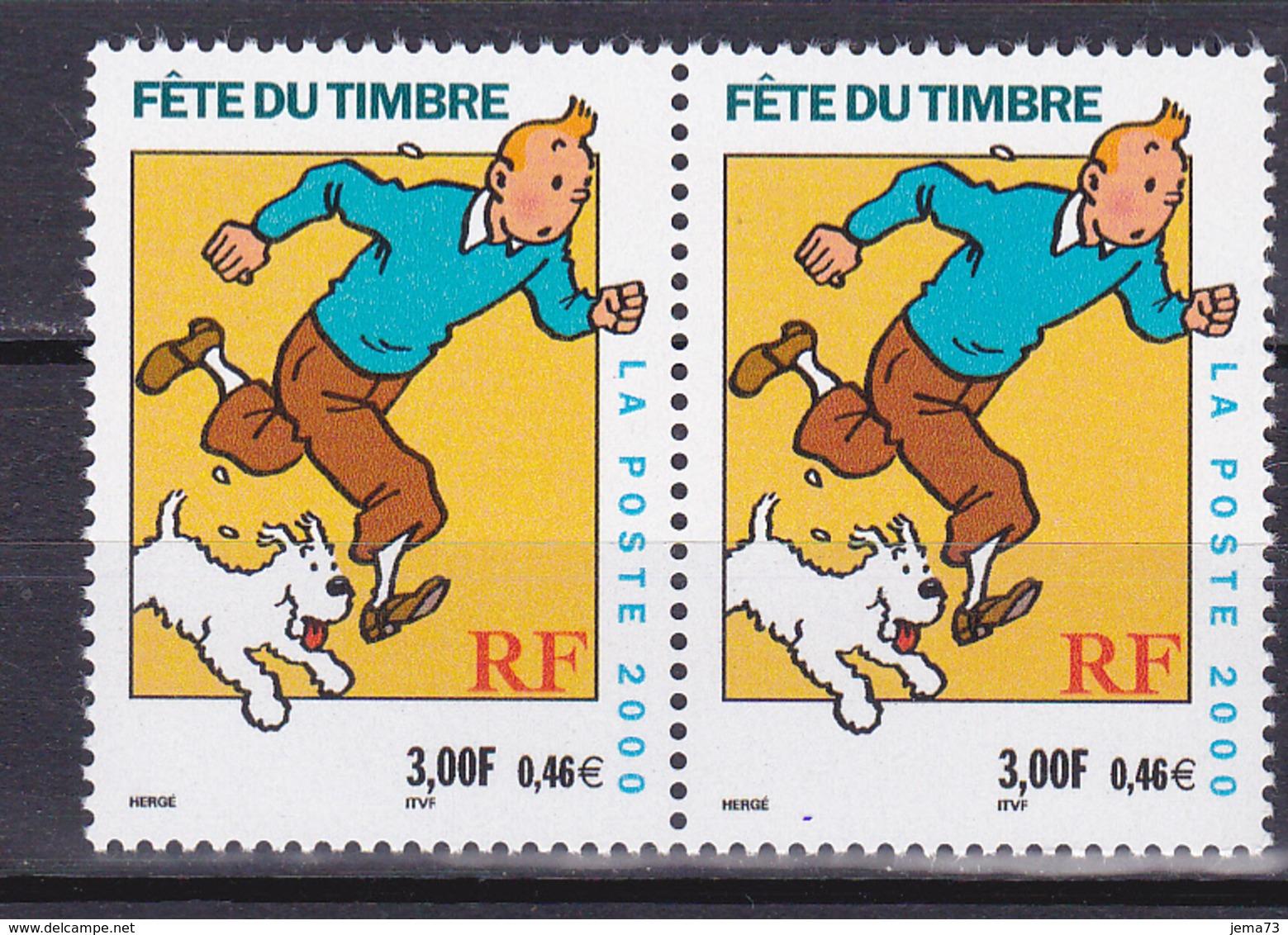 N° 3303 Fête Du Timbre Hergé Moulinsart 2000: Belle Paire De 2 Timbres Neuf - France
