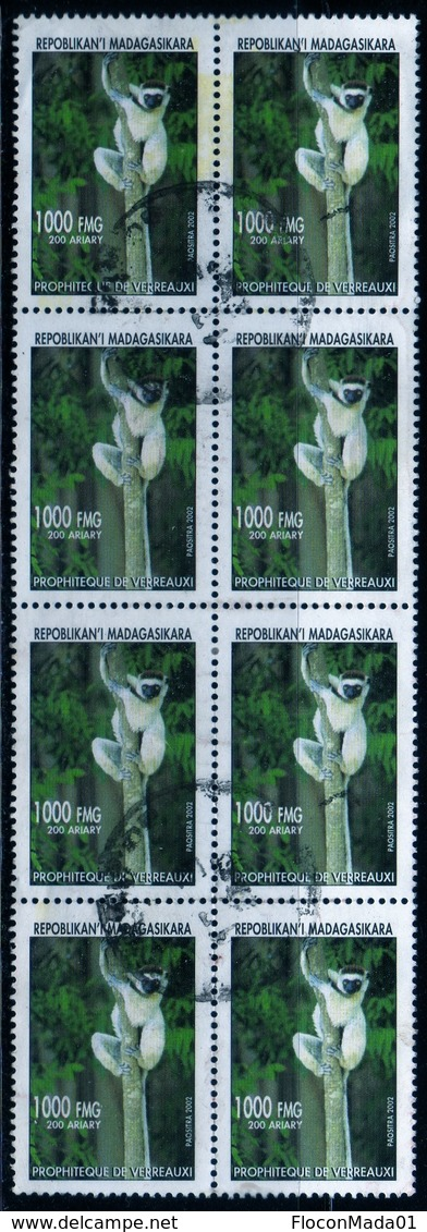 Madagascar 2002 Lémurien Lémur Catta / Animal / Mammifères /  N° 1830  Oblitéré Used Bloc De 8 Timbres - Madagascar (1960-...)