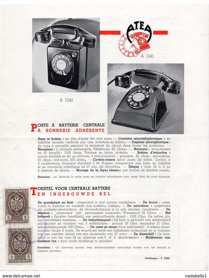 1930s YUGOSLAVIA , BELGIUM, ATEA, TELEPHONE SET, CATALOG SHEET, 2 FISKAL STAMPS, ADVERTISEMENT - Other Collections