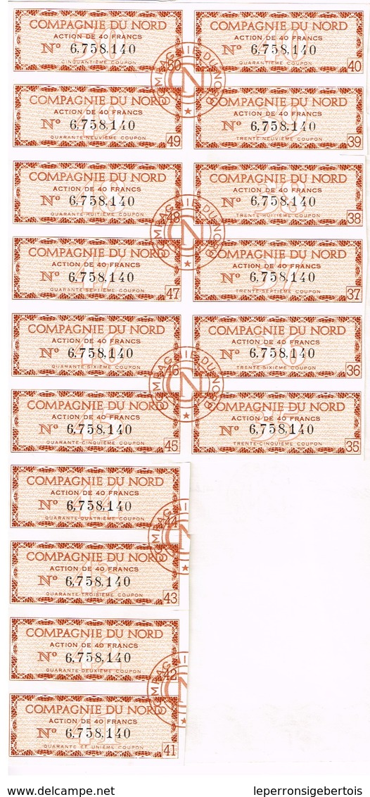 Ancien Titre - Compagnie Du Nord, Anciennement Compagnie Du Chemin De Fer Du Nord - Titre De 1968 N°6.758.140 - Chemin De Fer & Tramway